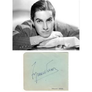 Tyrone Power - Autograph - Signature Mounted with Black & White Photograph