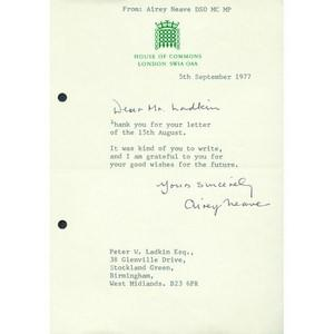 Airey Neave Signed Letter Autograph