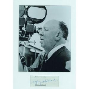 Alfred Hitchcock - Autograph - Signed Page and Black & White Photograph - Framed
