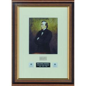 Benjamin Disraeli - Autograph - Signature Mounted with Colour Portrait - Framed