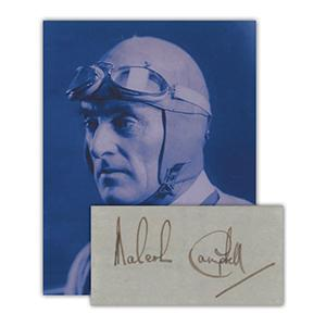 Malcolm Campbell -  Autograph - Signature Mounted with Black & White Photograph