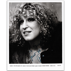 Bette Midler - Autograph - Signed Black and White Photograph