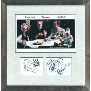 Nick Park & Peter Lord -  Autograph - Signature Mounted with Colour Photograph