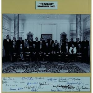 Labour Cabinet 2002- Signatures - Signed Black and White Photograph - Framed
