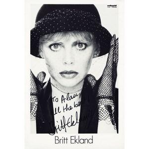 Britt Ekland - Autograph - Signed Black and White Photograph