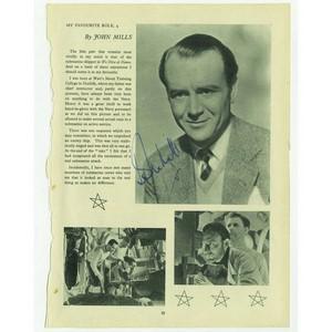 John Mills - Autograph - Signed Magazine Page