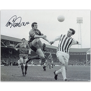 Tommy Lawrence Signed Black and White Photograph Liverpool FC