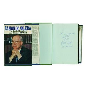 Lord Longford Autograph - Signed Flyleaf of Book on Eamon DeValera