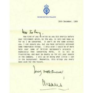Prince Charles - Signature - Typed Note Dated 1989