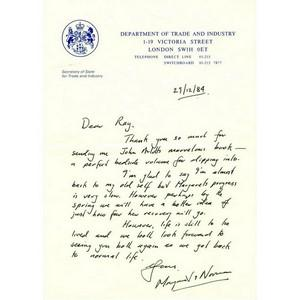 Norman Tebbit Signature - Signed Handrwritten Note - 1984