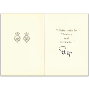 Prince Philip Duke of Edinburgh Signed Christmas Card - 1986