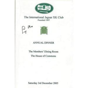 Stirling Moss Signed Programme From Annual Dinner Event for Jaguar XK Club