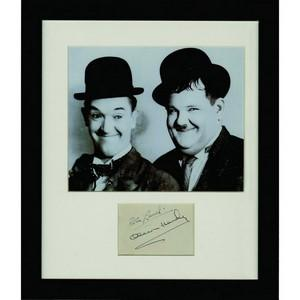 Laurel & Hardy - Autograph - Signartures Mounted with Black and White Photograph