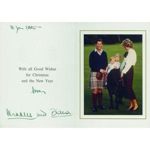 Princess Diana & Prince Charles - Signatures - Signed Christmas Card
