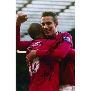 Robin Van Persie and Ashley Young - Autograph - Signed Colour Photograph