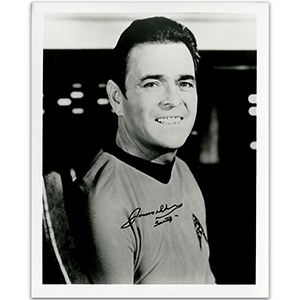 James Doohan - Autograph - Signed Black and White Photograph