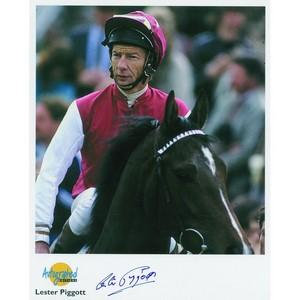 Lester Piggott - Autograph - Signed Colour Photograph