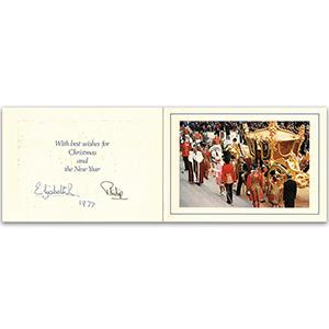 Queen Elizabeth II & Prince Philip Signed Christmas Card 1977)
