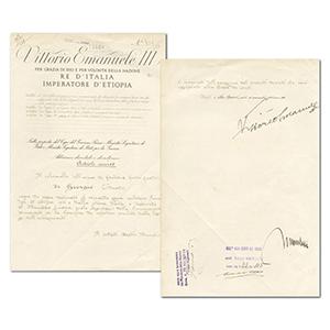 Mussolini & Victor Emmanuel III Signature