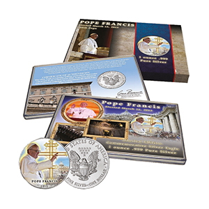 Pope Francis Commemorative Colourised Silver Eagle US Dollar