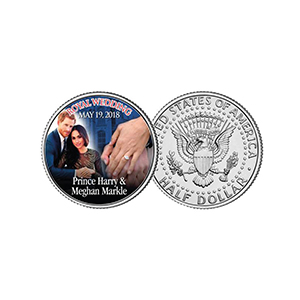 Prince Harry & Meghan Markle Colourised JFK Half Dollar