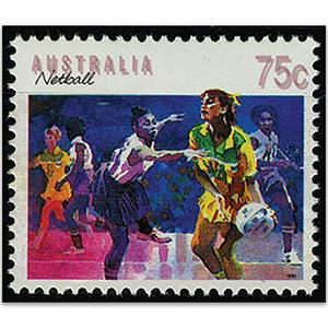 Australia SG1188  1989-94 Sport series 75c netball, Dbl country name & value
