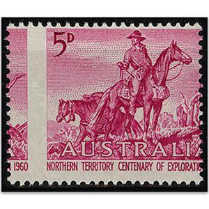 Australia 1960 5d Magenta Type I, Misplacement of vert perfs