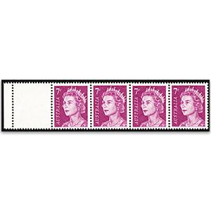 1966-73 7c purple, blank stamp at left horiz strip/4 u/m