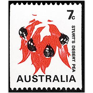 1971 7c Sturt's Desert Pea missing green & buff u/m