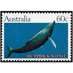 Australia1982 SG 841a 60c Whale, Solid green/blue background