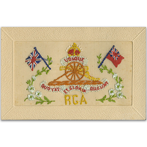 WWI Royal Garrison Artillery Silk Postcard
