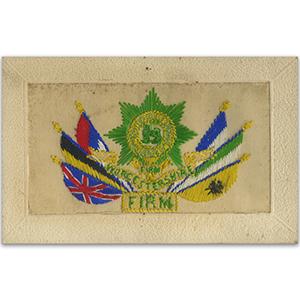 WWI Worcestshire Silk Postcard