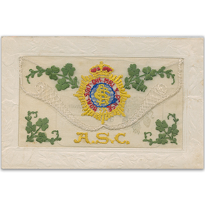 WWI Army Service Corps (Flap) Embroidered Postcard