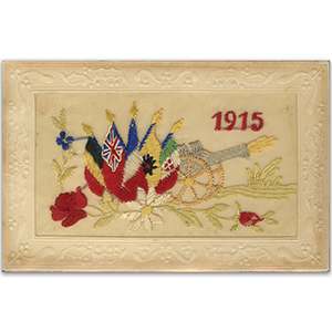 WWI Embroidered Postcard - 1915 Canon