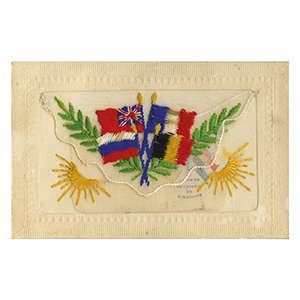 WWI Embroidered Flags Postcard (flap)