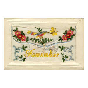 WWI Embroidered Remember Postcard
