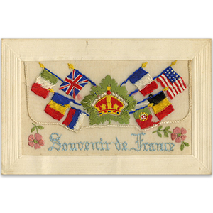 WWI Embroidered Greeting France Postcard (Flap)