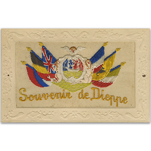 WWI Embroidered Postcard Souvenir Dieppe