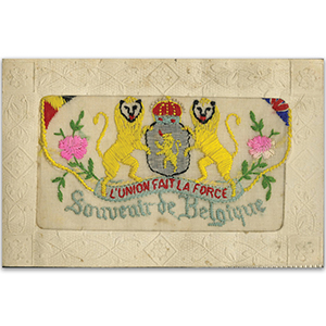 WWI Embroidered Souvenir Belgique Flap Postcard (various designs)