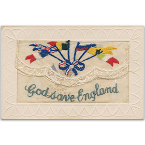 WWI Embroidered Postcard - God Save England