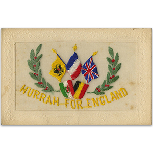 WWI Embroidered Postcard - Hurrah For England