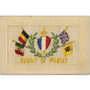 WWI Embroidered Postcard - Right is Might (various)