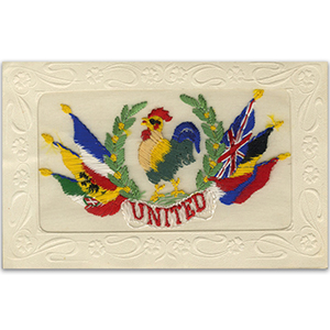WWI Embroidered Postcard - United We Stand