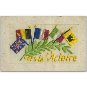 WWI Embroidered Postcard - Vers La Victoire