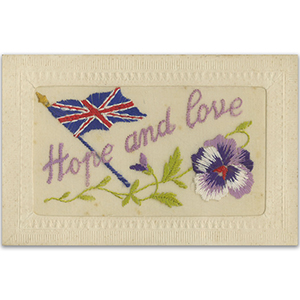 WWI Embroidered Postcard - Flag & Pansy