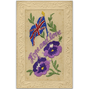 WWI Embroidered Postcard - Hope & Love