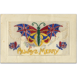 WWI Embroidered Postcard - Always Merry
