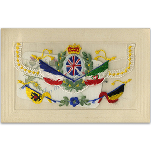 WWI Embroidered Patriotic Flap Postcard (various)
