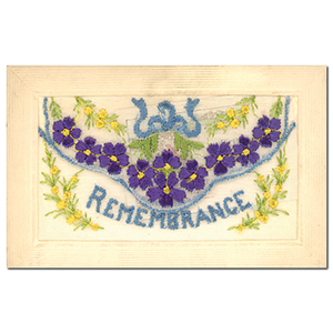 WWI Embroidered Remembrance Flap Postcard (various)