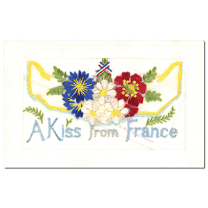 WWI Embroidered Kiss from France Postcard (flap)